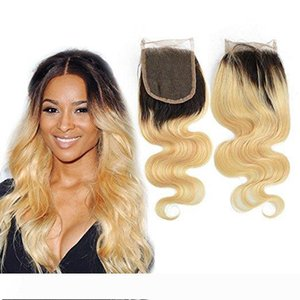 Two Tone Hair Pre Plucked Brazilian Hair Top Closures Ombre 1b 613 closure 1b 613 lace closure With Baby Hair