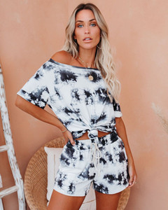 Ms. pajamas 2020 new tie-dyed shorts and short-sleeved round neck at home pajamas suit tracksuit