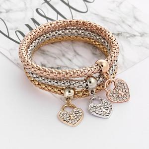 Encanto del corazón pulseras brazaletes Establece 3PCS palomitas de la vendimia la cadena del corazón del Rhinestone pulseras de los colgantes amor por las mujeres joyas regalos de Navidad