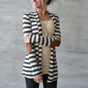 Diseñador del suéter de la mujer diseñador de las mujeres suéteres de la manera del otoño 2019 mujeres de rayas Impreso Cardigan codo remiendo suéter de punto