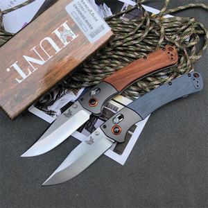 HOT Benchmade нож BM15080 Складной нож Самооборона 9cr18mov лезвия камень мытья G10 + дерево ручки кемпинга Tactical Combat Карманные ножи