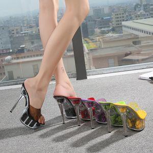 بكعب الصيف أزياء كبير الحجم سوبر أحذية عالية منصة 15CM سميكة زهرة كريستال النعال 6 بوصات تريند متجرد ملهى ليلي
