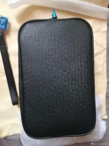 2019 hommes noirs en cuir de style classique affaires Kasai sacs à main des hommes sac wristlet Venez avec le sac à poussière Marque et carte livret numéro de série