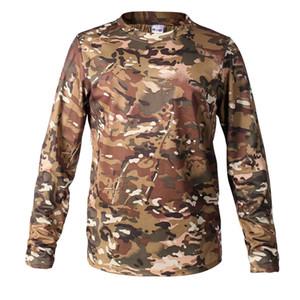 Kamp Av Yürüyüş Lüks Giyim Tasarımcı Erkekler Gömlek Biyonik Kamuflaj Av Erkek tişört Nefes Mesh Uzun kollu