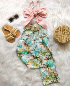 2020 Летние каникулы 2PCS 1-6Y Sling Лук Crop Top Vest + Кокосовое дерево печати штаны малышей Детские Baby Girl Одежда для детей Костюмы