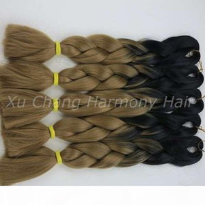L Kanekalon Jumbo Box Braiding Synthetic Hair 20 Inch 100g Black &27 Ombre Two Tone Xpression Hair Extension