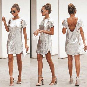Осень Silver Sequined Backless сексуальное платье Женщины с коротким рукавом Мини платье Короткое Christmas Party Club Платья Vestidos