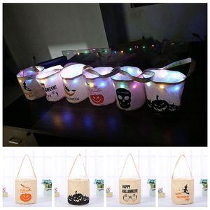 LED Halloween Basket Pumpkin masquerade partyCanvas Bag skull print Storage bag crianças Cesta de Doces bolsa Bolsa de Presente LJJA3072