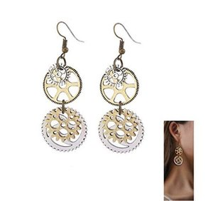 Punk Earrings Gears Clock Circle Earrings Vintage Personalized Gold Plated Jewelry Machine Parts Women Ear Hook Punk Style