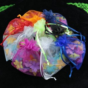 Wholesale- 100pcs lot 9x12cm Mixed Color Bolsas Organza Drawstring Packaging Bags Pouches Christmas Wedding Gift Jewelry Display Bags