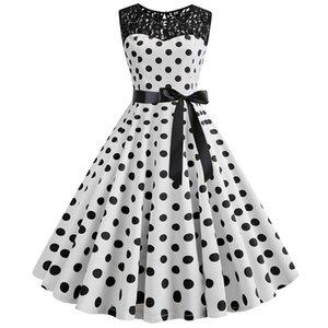 women 1950s vintage polka dot lace midi dress 50s 60s summer floral print belt pleated swing dress