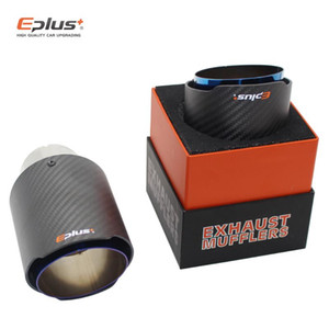 EPLUS Car Carbon Muffler Tip Exhaust System Matte Universal Straight Stainless Blue Akrapovic Mufflers Multiple Sizes
