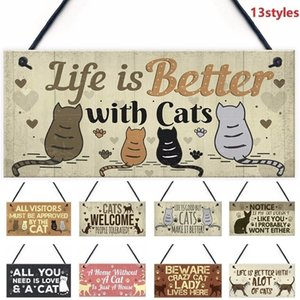 1 piece wooden pendant tag cute cat pet carved door tag friendship sign cat lovers