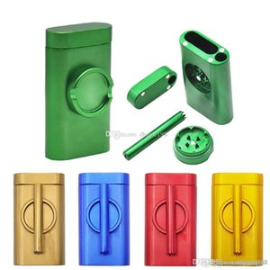 metal Dugout One Hitter aluminum pipe with herb tobacco grinder and smoking cigarette herb storage box