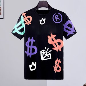 Calavera de cristal Camisetas Hombre Verano básico sólido camiseta de tigre hombres ocasionales de la manera del punk varón de alta calidad 100% algodón carta tops T tamaño M-3XL