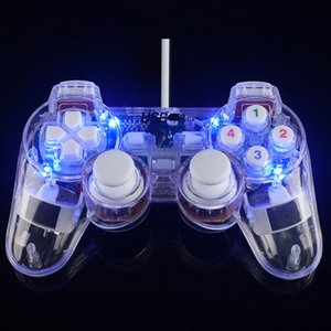 200pcs Transparent LED Wired USB Gamepad Double Vibration Joystick Game Controller Joypad For PC Laptop Win7 10 XP Clear