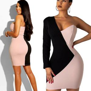 En Yeni Sıcak Kadın Bandaj BODYCON Uzun Kollu Patchwork Bir Omuz Akşam Party Club Kısa Şık Mini Elbise