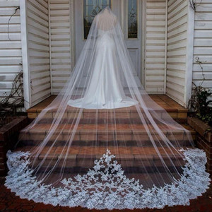 Новый Appliqued Кружева Свадебные Фаты Длинные собора Длина Белый Слоновая кость Шампанское Фата с гребенчатой сшитое вуаль венчания