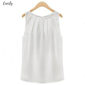 Tank Tops Women Loose Casual Pleated Chiffon Solid Sleeveless Vest All Match Sexy Basic O Neck Tops For Women Female Clothing