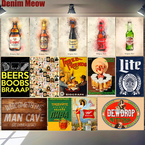 Ice Cold Beer Plaque Vintage Metal Tin Sign Man Cave Poster Home Bar Cafe Club Wall Decoration Belgian Beer Art Plate Decor N348