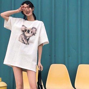 alta qualidade de carta de impressão bordados t-shirt homem mulheres moda manga curta Punk hip hop cobre T Casual Skate Verão Koala T unisex