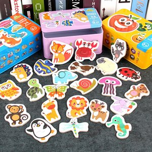 Montessori Game Early Educational Montessori Toys Puzzle Card Cartoon Traffic Animal Fruit Pair Matching Game Toys for Children Y200317
