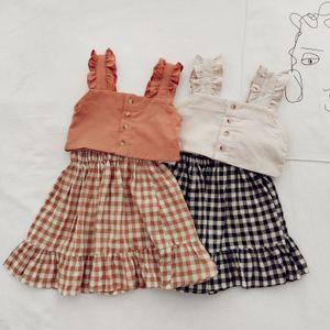 Set Clothes Mihkalev Summer Kids 2020 Children Cotton Clothing Sets Tank tops+Plaid Skirt Girls Pretty Outfits vestiti bambina