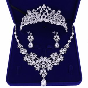 2020 Nova nupcial casamento formal Jewelry Partido Prom cristal Rhinestone Crown Colar Brinco Set sem Box