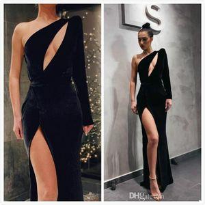 Negro Sexy vestidos de noche de un hombro de alta Dividir terciopelo vestidos de baile formal noble dama de honor del desfile de los vestidos de túnicas de soiree