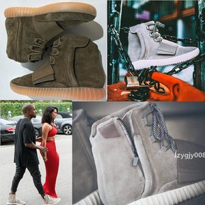 NUOVO Kanye West scarpe 750 Mens Boots Glow scuro grigio chiaro Triple Sneaker Skateboard Sport Scarpe donna nera alla caviglia alta calza il formato 36-46
