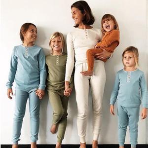 أطفال الصلبة لون البيجامة الصيف الخريف ملابس للنوم ملابس الطفل مجموعات زر الديكور الأطفال كم طويل مطاطا الرئيسية خدمة LXL594-1