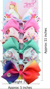 JOJO SIWA 5.inch GROßE Rainbow Unicorn Unterschrift HAIR BOW mit Karte und Pailletten Logo Baby Mädchen Kinder Haarschmuck Mode Haarspangewh