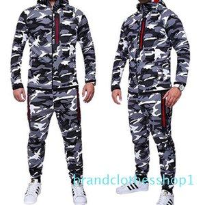 Fashion-HIRIGIN Mens Autumn Winter 2PCS Clothes Sets Crosshatch FULL Sweatshirts + Jogging Fleece Long Trousers Pants