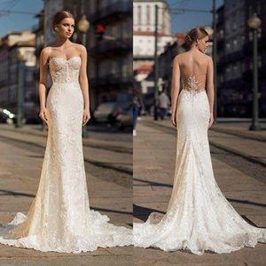 Sin tirantes Ricca Sposa 2019 Mermiad vestidos de boda apliques barrido El tamaño de tren más vestidos de novia Beach Robe de mariée