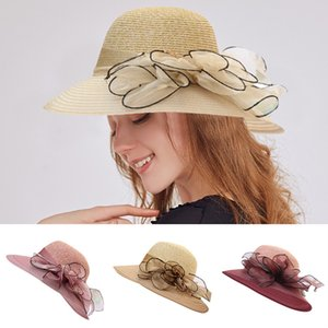 2020 Summer Women's Beach Straw Hat Church Kentucky Daily Cap Sombreros Fascinator Bridal Tea Party Wedding Hat Verano Mujer#C10