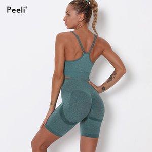 Peeli Seamless Yoga Set Gym Fitness Clothing for Women Sports Suit Set Sports Bra Running Push Up Shorts Seamless Workout