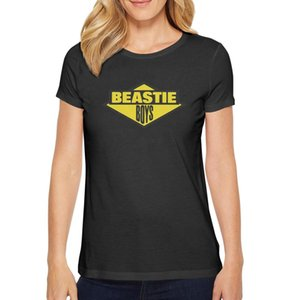 Fashion Womens The Beastie Boys logo yellow black Round neck t shirt Vintage Champion shirts white entertainment graffiti art show