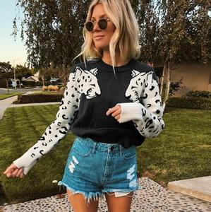 Womens modello Designer maglioni di moda del manicotto lungo rivestite Pullover collo di squadra delle donne maglioni casual traspirante femmine Abbigliamento Leopard