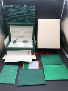 Tarjeta Folleto de la caja de reloj verde caja de regalo para relojes Rolex etiquetas y artículos en inglés Top suizos Relojes Cajas