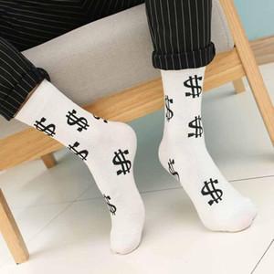 4 par / lote Moda Primavera Otoño Hombres Calcetines Símbolo de dólar Impreso Cómodo Transpirable Absorber Sudor Antideslizante Hombre Medias Calcetín largo