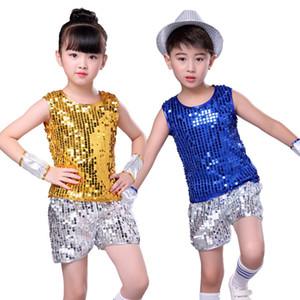 أطفال الجاز الترتر الرقص ازياء بنين بنات الهيب هوب الرقص الحديث أداء مجموعة ملابس الأطفال جازي ملابس Stagewear