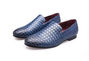 Yeni erkek lüks Tasarımcı beyefendi örgü tarzı Yassı Ayakkabı Erkekler Homecoming Elbise Düğün Parti ayakkabı chaussures adam için ...