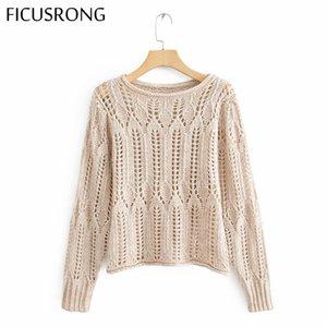 Frauen höhlen heraus gestrickten Pullover Pullover beiläufige O Ansatz Pullover Tops New Pullover mit langen Ärmeln FICUSRONG