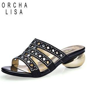 ORCHA LISA 2019 pantoufles femmes découpées en strass talons ronds style étrange dames mules tongs d'été plus la taille 43 33