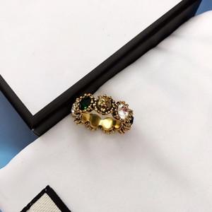 유럽과 미국의 새로운 뜨거운 횡포 레오파드 헤드 컬러 다이아몬드 반지는 디자이너 고급 디자이너 보석이 여성 반지 6 7 8