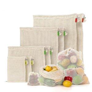 Vegetable Fruit Bag Storage Bag Reusable Produce Bags Eco-Friendly 100% Organic Cotton Mesh Bags Bio-degradable Kitchen