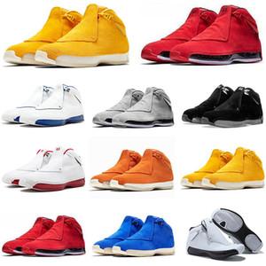mens scarpe da basket air jordan retro 18 Giallo camoscio 18s jumpman Toro arancione grigio freddo Bred momenti salienti Olimpiadi uomini scarpe da ginnastica blu scarpe sportive