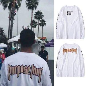 New INS Trend High Street Bieber Purpose Tour Letter Print STAFF Men and Women Couple Long Sleeve T-shirt