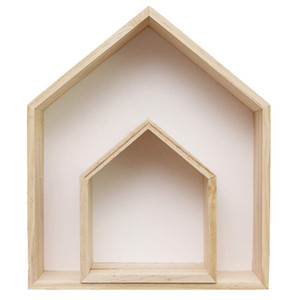 2Pcs Lovely Wooden House-Shaped Wall Storage Shelf Kid'S Room Decoration