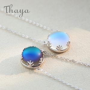 Thaya Aurora Kolye Halo Kristal Taş S925 Gümüş Ölçekli Işık Orman Kadın Kolye Kolye Zarif Moda Grils Takı MX190726